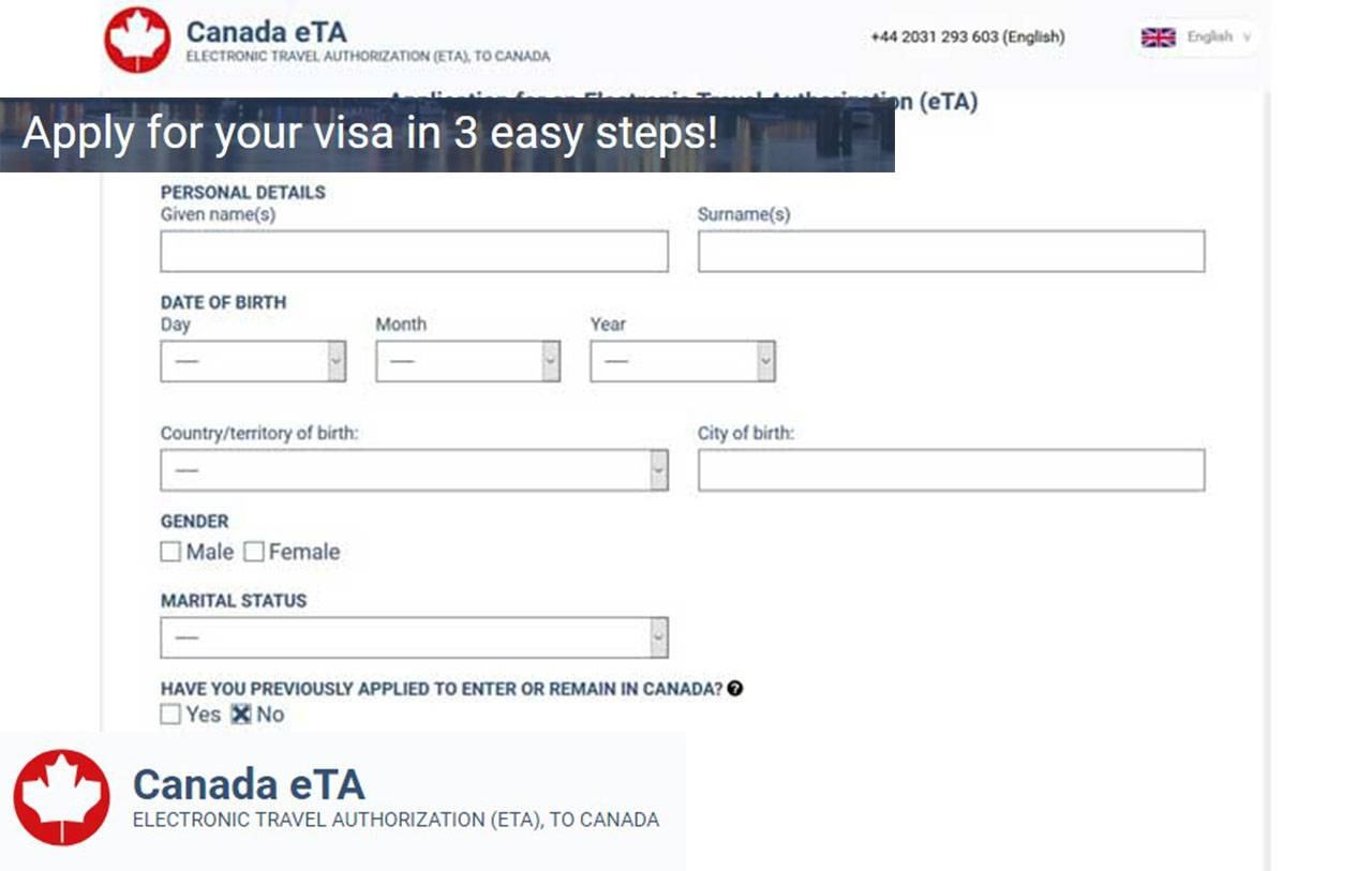 Sample of Canadian Visa Application Form – Online eTA Visa